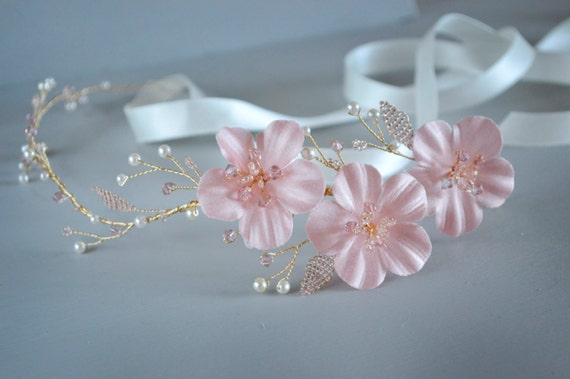 Bridal Hair Vine, Blush Pink Hairpiece, Bridal Headband,Bridal Headpiece, Cherry Hair Flowers, Wedding Hair Accessories, Floral Headband