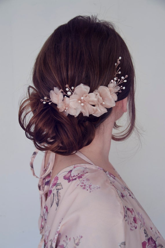 Rose Gold Hair Vine, Bridal Hair Flowers, Bridal Headpiece, Cherry Blossom hairpiece, Blush Pink Headpiece, Wedding Hairpiece
