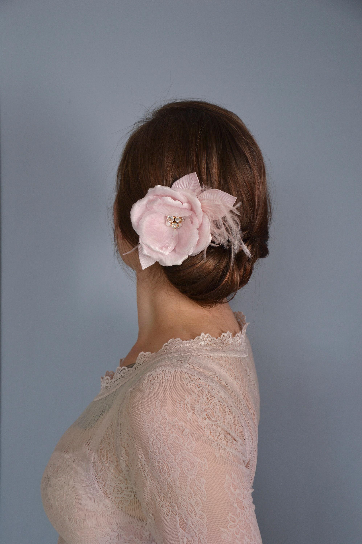 Bridal Headpiece Floral Hair Clip Blush Pink Silk Hair Flower Hair
