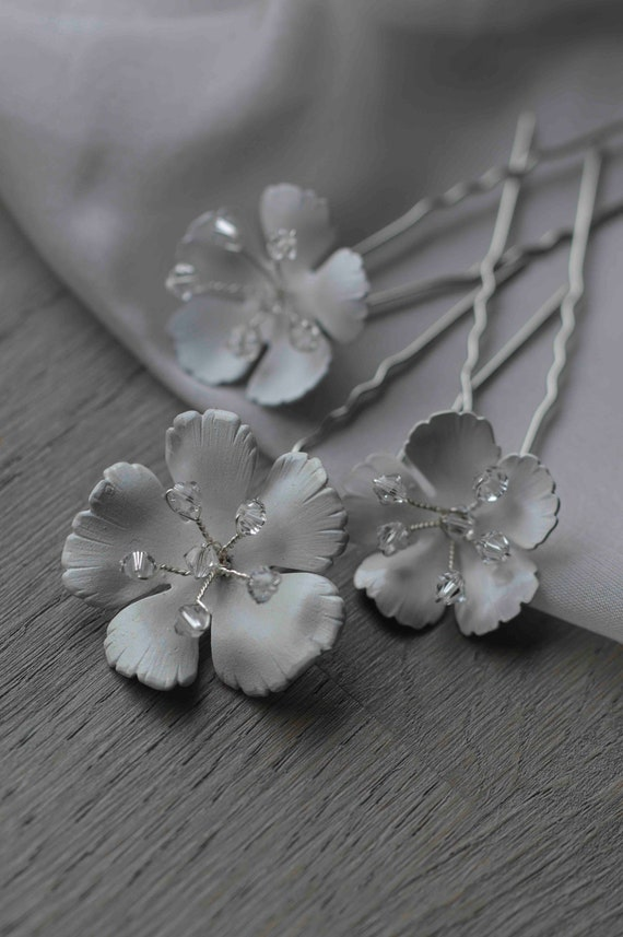 Floral Hair Pins - Wedding Hair Jewelry