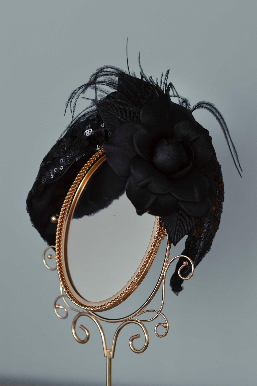 Black Fascinator Headband - Turban Headband e2e38daa80d