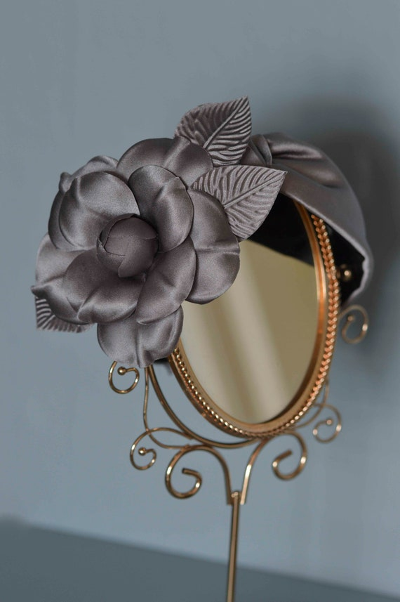 Floral Turban Headpiece -  Silver Grey Fascinator