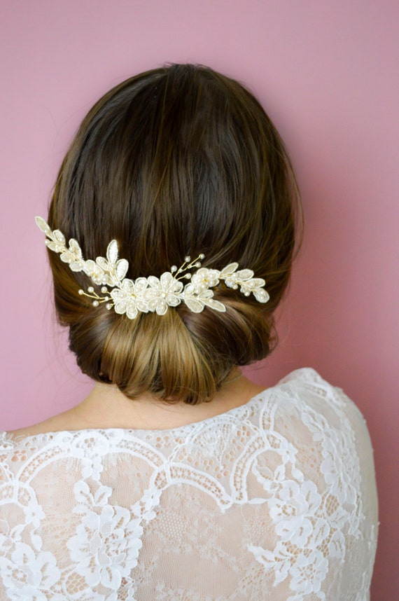 Lace Headpiece - Wedding Comb -  Ivory Lace Hair Comb - Bridal Hair Accessories - Vintage Style Hair Comb -