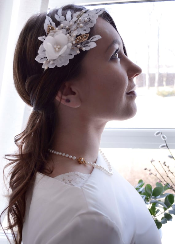 Bridal Headband, Lace Headpiece, Wedding Hair flowers, Crystal Wedding Hairband, Floral Hair Accessories, Vintage Bride