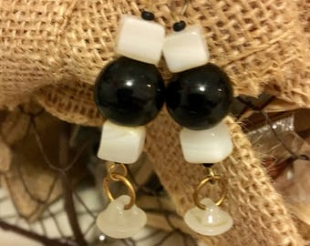 Black White Earrings, Repurposed Earrings, Button Earrings, Upcycled Button Jewelry, Dangle Pierced Earrings, Black Bead Earrings, Accessory