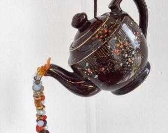 Brown Tea Pot Kitchen Decoration, Hanging Kitchen Art, Mobile, Tea Pot Centerpiece, Tea Party, Upcycled Vintage, Garden Art, Tea Lover Gift
