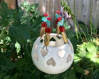 Heart Candle Holder, Valentine's Day Gift, Hanging Candle Lantern, Mini Plant Hanger, Red Blue Gold, Upcycled Repurposed, Garden Decoration