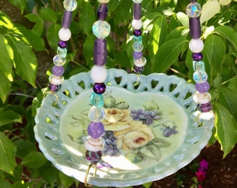 Upcycled Hanging Planter, Green Heart Dish, Outdoor Garden Decor, Bird Feeder Plate, Potpourri Dish, Candle Holder, Tea Party, Mother's Day