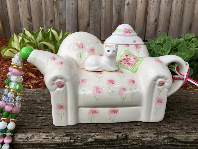 Cat Tea Pot Decoration, Tea Party Table Centerpiece, Pink White Tea Pot,  Wind Chime, Mobile, Kitchen Decor, Repurposed Vintage, Sun Catcher