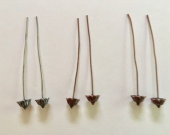 Decorative Metal Head Pins, Antique Copper, Antique Silver Headpins, Set of 3 Earring Pins, Pendant Findings, Jewelry Crafts, Wire Pins, DIY