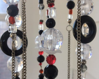 Black Red Crystal Wind Chime, Mobile, Hanging Bead Art, Window Charm, Bedroom Decor, Sun Catcher, Outdoor Garden Art, Upcycled Repurposed