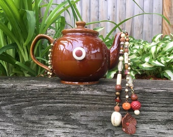 Brown Ceramic Tea Pot Mobile, Tea Pot Wind Chime, Outdoor Garden Decoration, Cottage Chic, Kitchen Art, Tea Party Decor, Repurposed Upcycled