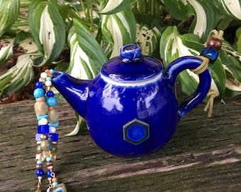 Blue Tea Pot Ornament, Tea Pot Mobile, Outdoor Garden Decor, Kitchen Art, Wind Chime, Upcycled Repurposed, Tea Party Decoration, Centerpiece