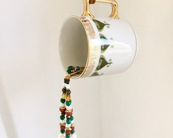 Coffee Cup Kitchen Decoration, Upcycled Coffee Mug, Sun Catcher, Hanging Garden Decor, Pouring Beads, Art Deco, Coffee Lover Birthday Gift