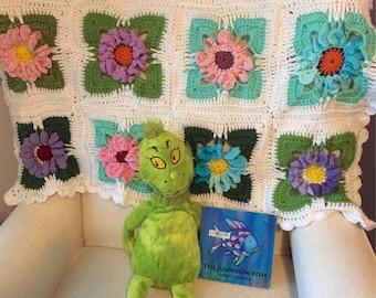 Floral Baby Blanket - Crocheted   ***Custom Made*****