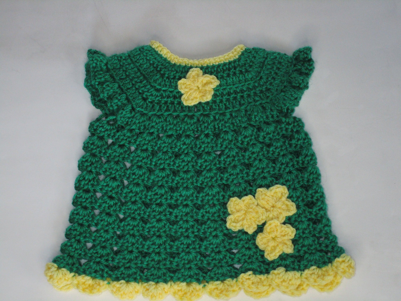 98466c5f62 Crochet Green & Yellow Baby Dress( Free Shipping)