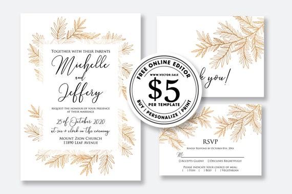 Wedding Invitation Set Rose Gold Foil Floral Pampas Grass Card Template Editable Online Usd 5 00 On Vector Sale
