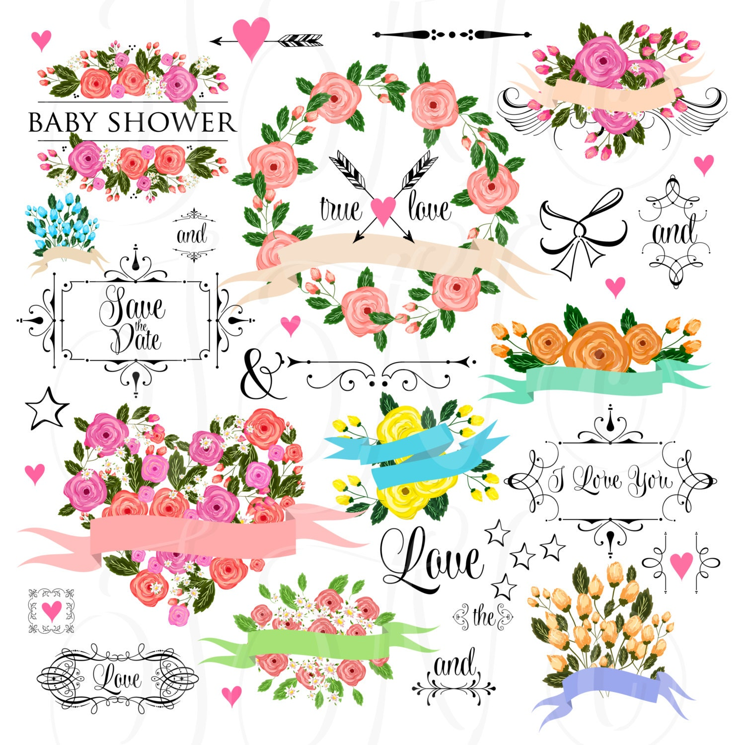 66 Unique Wedding Floral Clipart Digital Wreath Frames Etsy