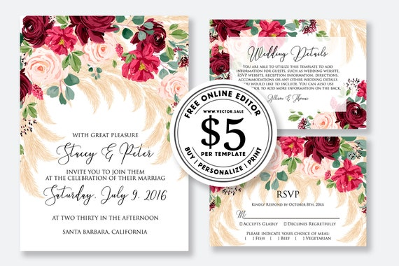 Wedding Invitation Marsala Peony Rose Pampas Grass Greenery Digital Card Template Free Editable Online Usd 5 00 On Vector Sale