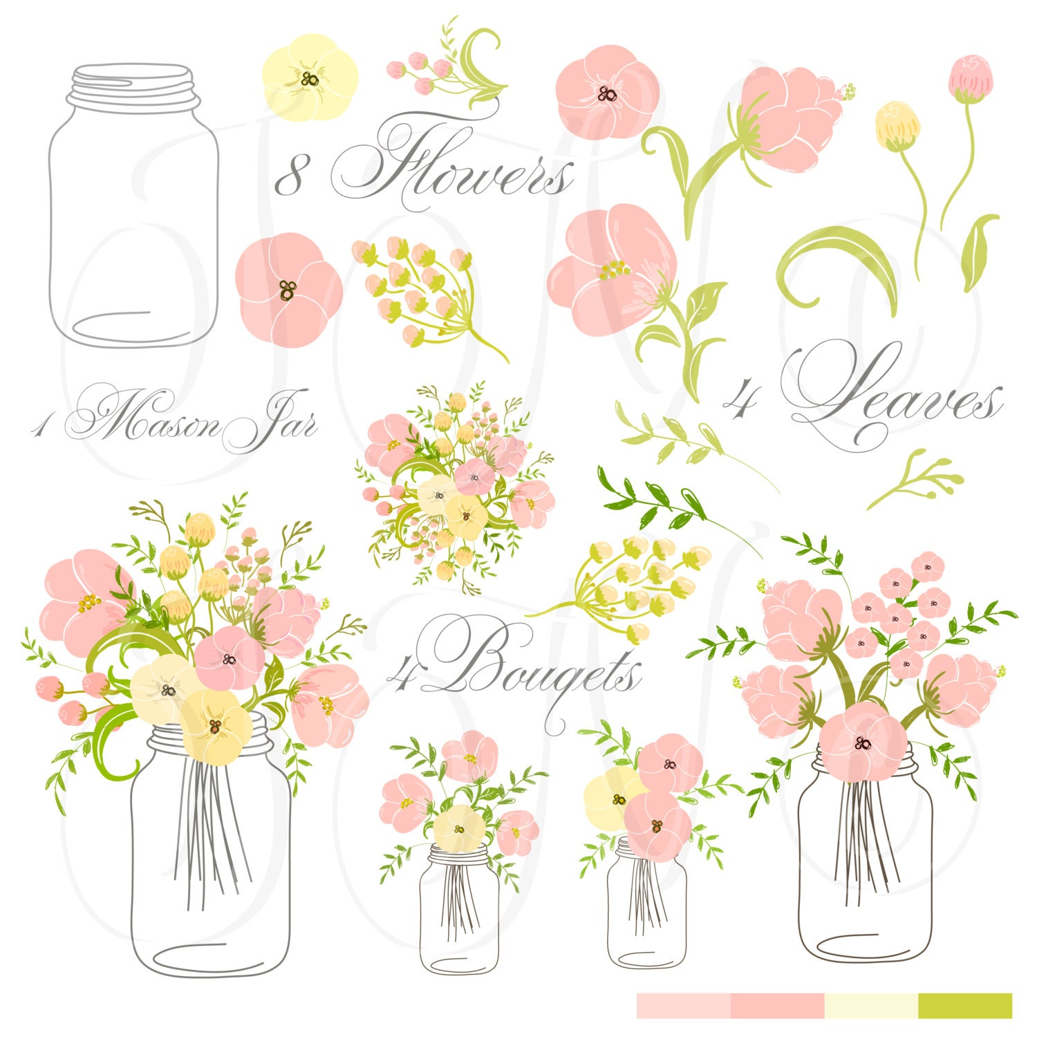 Hand Drawn Mason Jars, card template and digital papers, Clip art ...