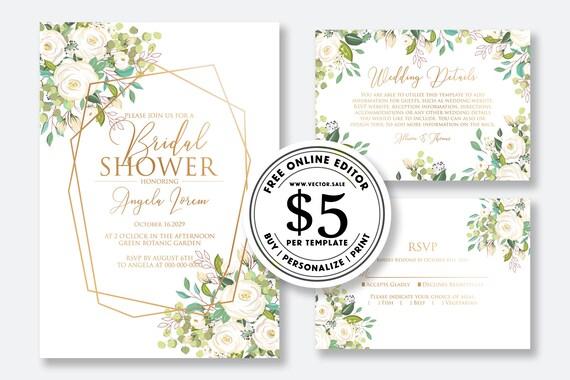 Wedding Invitation Set Watercolor White Rose Peony Eucalyptus Herbal Greenery Sakura Card Template Editable Online Usd 5 00 On Vector Sale