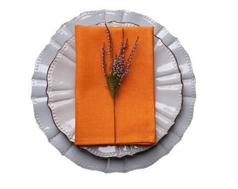 Orange linen napkins - orange fabric napkins - orange table linen - orange napkins set - plain orange napkins - orange wedding - tiger linen