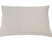 2 KING, QUEEN or SQUARE Linen Pillowcases. Envelope closure, stonewashed certified fabric. Natural, Gingham style checks