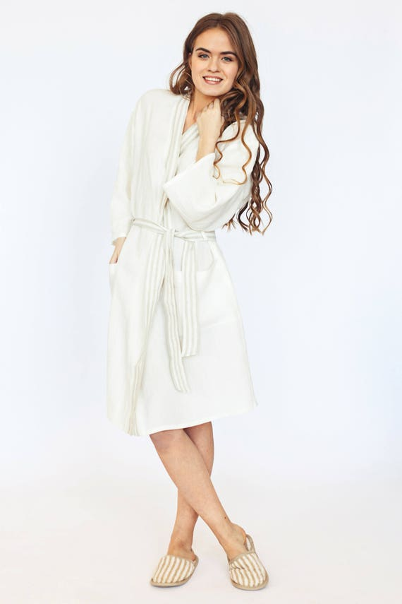 Dressing Gown for Women Lounge Wear Linen Bathrobe in Off-White