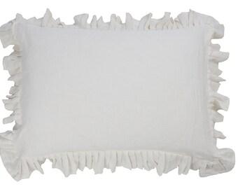 Ruffle pillowcases - Ruffled pillow case- Natural pillow cover - ruffled bedding - linen pillow case - linen bedding