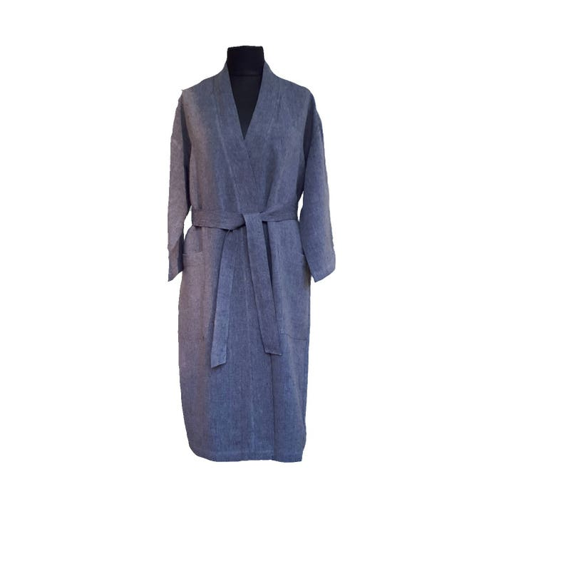 KIMONO BATHROBE natural bathrobe men linen robe women  da6b9e5f5