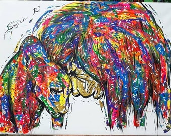 Love of Lion Couple Abstract Glow Art Painting Artwork with Fluorescent Oil and Acrylic on Canvas for Decoration, Collection, Gift