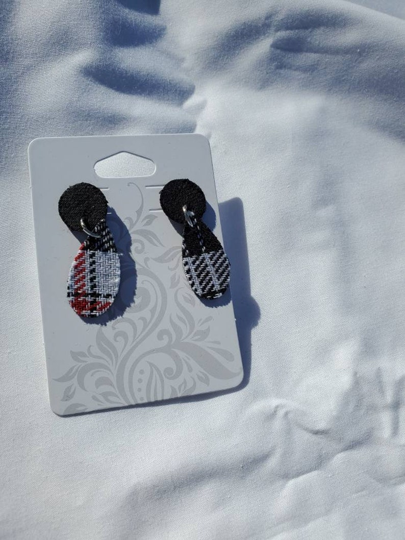 Christmas Sweater Red Teardrop Stacked with Black Round Earrings Black White