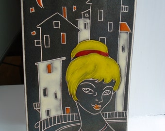 AWF plaque, ceramic wall tile, wall hanging, young girl, Norway