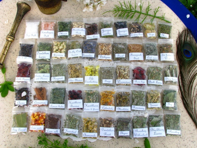 Witch Herbs, You choose 6 herb bags, Wiccan Magical Herbs Bags, Secrets  wood branches, Pagan Spiritual Supplies, Witch Starter kit