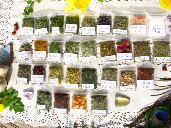 30 Witch magic herbs, Wiccan apothecary herbs bags, Wicca Starter kit,  Witch herbs, Pagan Spiritual Supplies, witchcraft supply, #2