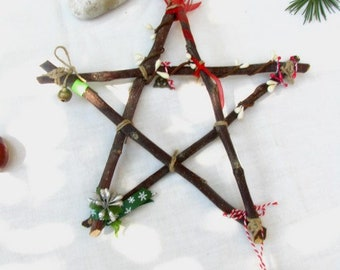 Apple wood Yule pentagram, Yule Pentagram ornament , Christmas tree star, Yule star, Wiccan Yule decoration, Home Protection