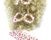 Pink Spring Floral Fabric Hair Rollers/ Soft Fabric Rollers/Hair Curlers/Hair Accessories/ Bun Maker /Fabric Donut