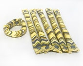 Yellow and Gray Chevron Cotton Hair Rollers Black and White - Hair Accessories - Soft Hair Curlers