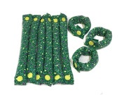 Spring Green Floral 3/4 inch Hair Rollers / Hair Accessories /Soft Hair Curlers