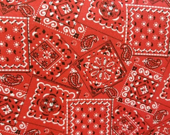 Red Bandana Print - Quality Cotton Fabric - Nice quality - New BTY - By The Yard - Sewing - Quilting - Crafts - Country - Sports - Mask