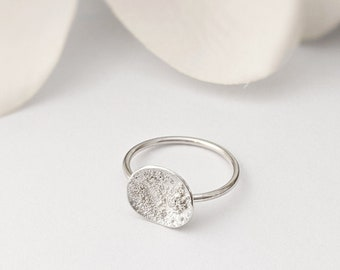 Minimalist Stacking Star Dust Dome Ring in Sterling Silver - Textured Round Ring - Uneven Circle - Moon ring