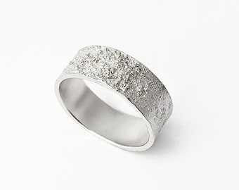 Narrow Celestial Ring in Sterling Silver, Textured and Hammered Band,  Unisex Ring