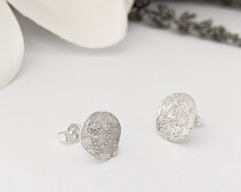 Sterling silver Star Dust Round Dome Stud Earrings - Circle, Textured and Assymetrical Moon earrings