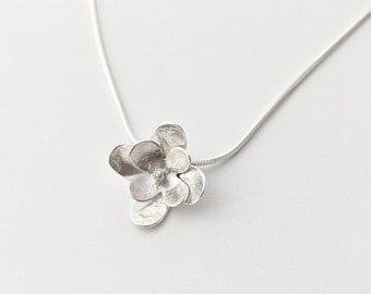Flower Pendant in Sterling Silver, Textured handmade flower necklace, Feminine and delicate