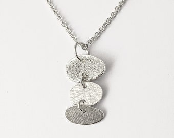 Celestial Pendant in Sterling Silver, Textured, Delicate with Organic shapes necklace