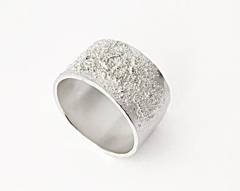 Large Celestial Ring in Sterling Silver, Textured and Hammered Band, Wide Unisex Ring