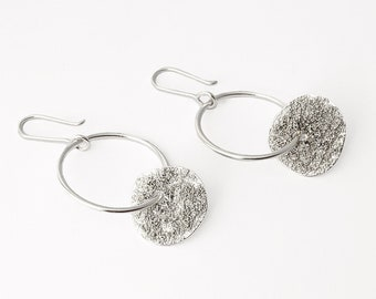 Celestial Loop Earrings in Sterling silver, Long, dangling and textured earrings with organic shapes