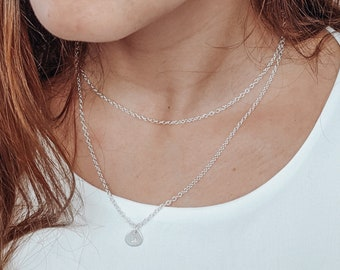 2 Layers Zodiac Chain Necklace in Sterling Silver - Linked layered necklaces with minimalist pendant with astrological sign