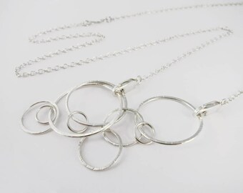 """Convertible Chain Necklace with Circle Pendant in Sterling Silver - Two 16"""" chains - Removable Pendant"""