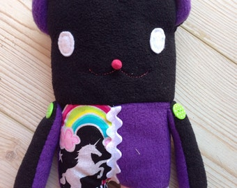 Kawaii Rainbow Teddy Bear Mini Tablet Case, Mini Tablet Case Plush, Black Teddy Tablet Case, Kids Teddy iPad Case, Kawaii Tablet Sleeve